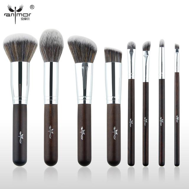 Anmor marca 8 unidades cepillo de maquillaje profesional pinceles de maquillaje sintético