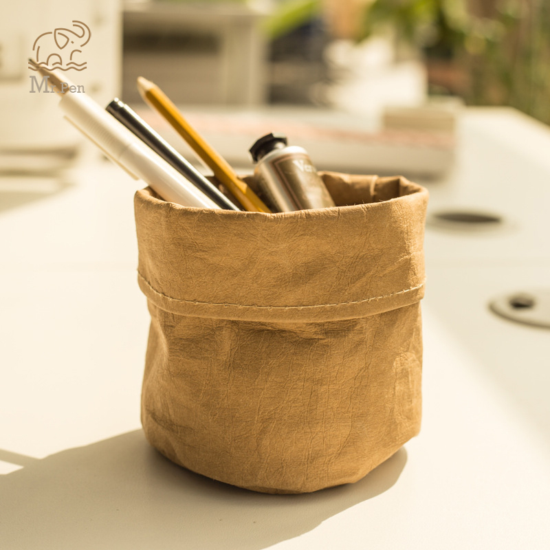 Kraft Paper Sundries Storage Baskets Waterproof Desktop Clips Pen Holder Space-Saving Storage Organizer Garden Flower Pot
