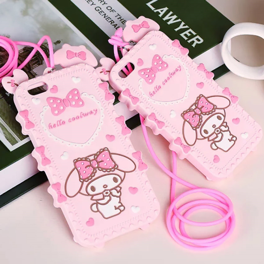 New Lovely 3D Cartoon Hello kitty My Melody Bow Pink Capa Soft Silicone font b Phone
