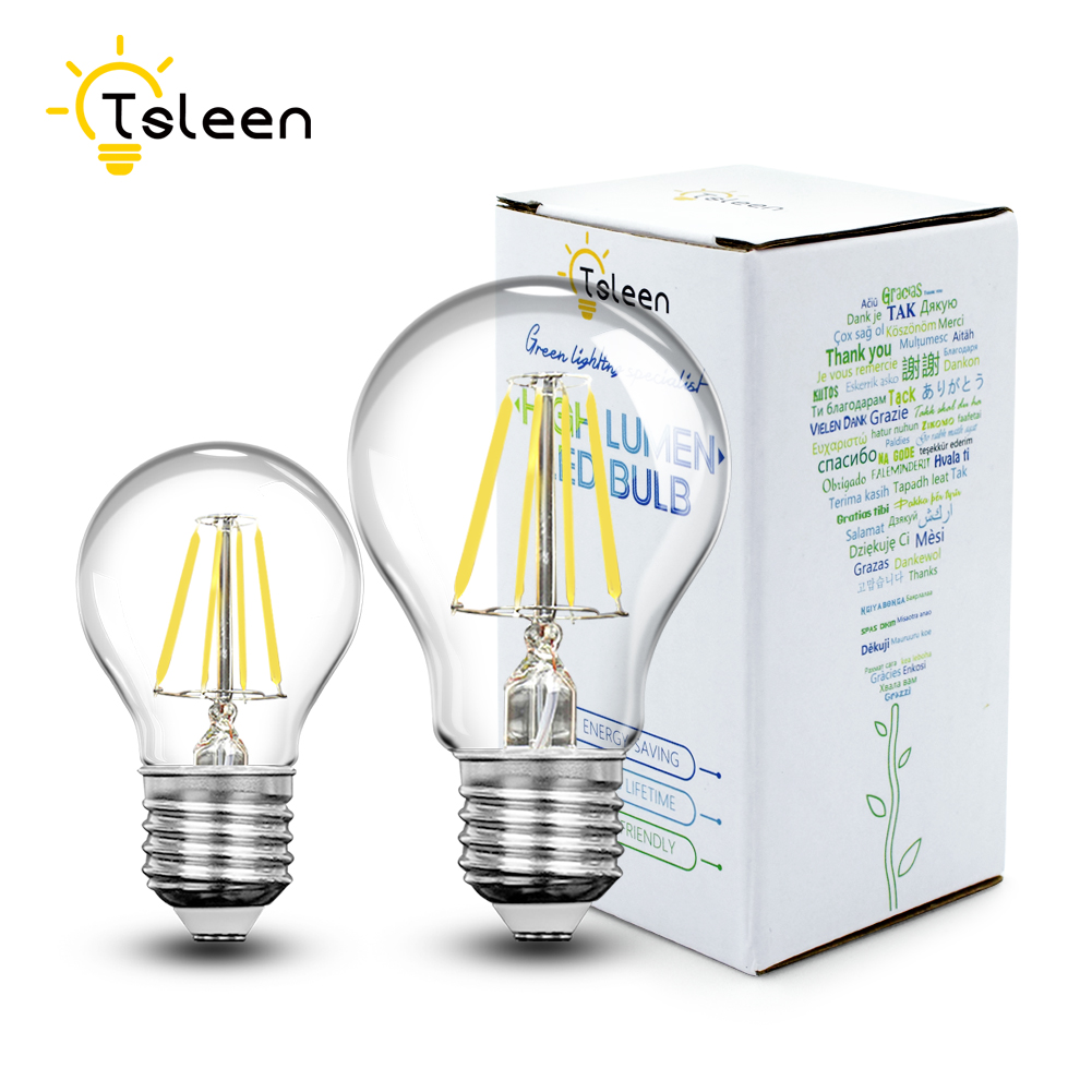 TSLEEN Retro Vintage LED Edison Bulb E27 LED Filament Light LED Bulb Lamp Candle Energy Saving Light 4W 8W 12W 16W 220V 110V