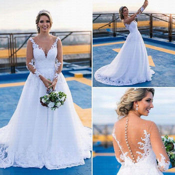 Appliques Vestido De Noiva Wedding Dresses 2019 Sheer Neck Beads See Through Back Robe Mariage