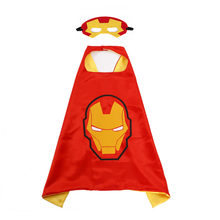 Halloween Party Cosplay Costume Iron Man Mask for kids Red&Yellow Double Color Cloak Iron man Cosplay Costume Mask + Cloak 2PCS(China)
