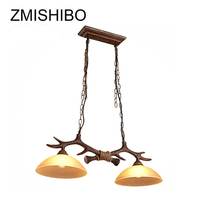 ZMISHIBO Vintage Antlers Pendant Lamps E27 100 240V Resin Glass Chain Ceiling Luminaire Suit For Coffee