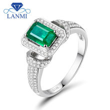 Promotion! Solid 14k White Gold 1.25ct Natural  Columbian Emerald Wedding Ring Real Diamond Gemstone Engagement Jewelry