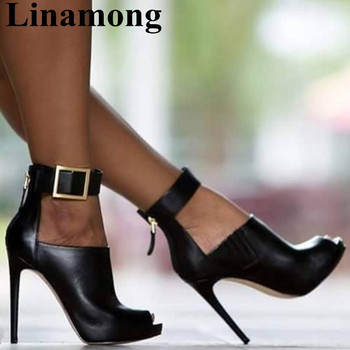 Black Thin High Heel And Peep Toe Buckle Strap Cover Heel Rome Style Sexy Fashion Party Summer Women Sandals
