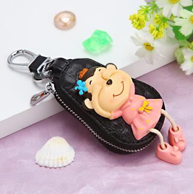 Key Wallets 2019 Brand Fashion Women Key Holder Cartoon Monkey Multifunction Men Car Keys Wallets Cow Leather Cute Housekeeper Key Organizer Traveling Coin Purses & Holders