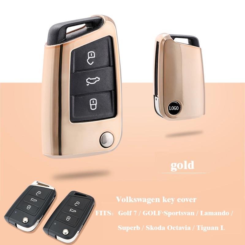 Gold TPU Key Cover Case Holder Chain Bag Key Fob Case Cover fit for Golf 7 / GOLFSportsvan / Lamando / Superb / Skoda Octavia