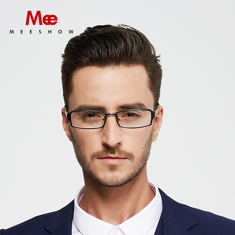 Meeshow Titanium optical Glasses 100 pure Titanium men optical frame custom black Titan Eyeglasses prescription glasses