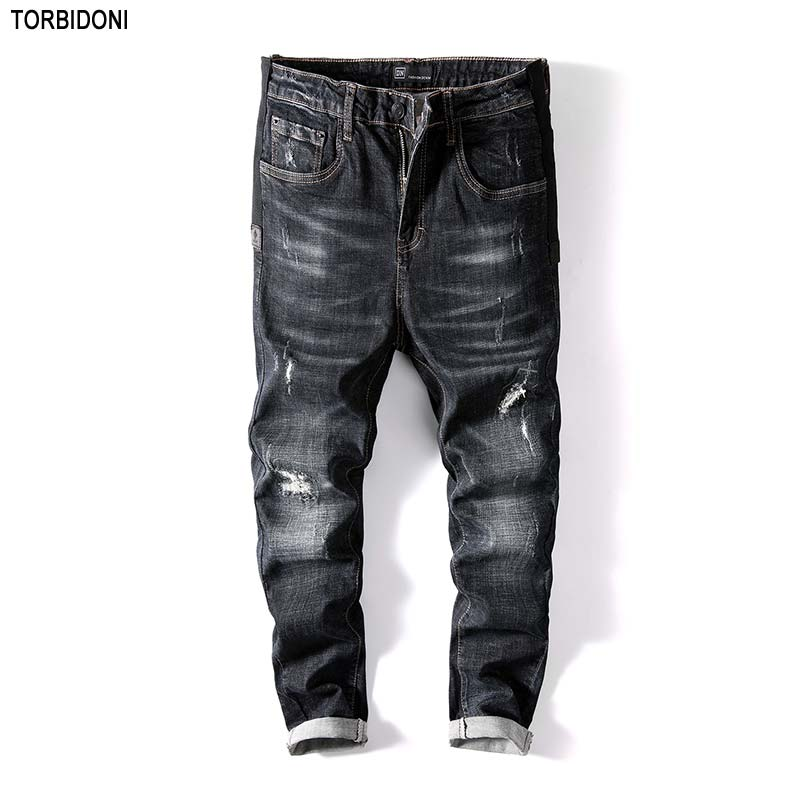 Men New Autumn Jaqueta Jeans Fashion Hole Jeans Skinny Long Trousers Little Elastic Ripped Distressed Jean Denim Pants Plus Size