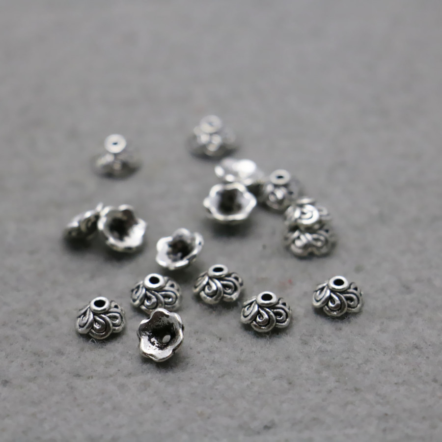 Flower Bead Caps Antique Silver Metal Alloy 3x7mm  50 Pcs Findings Jewellery