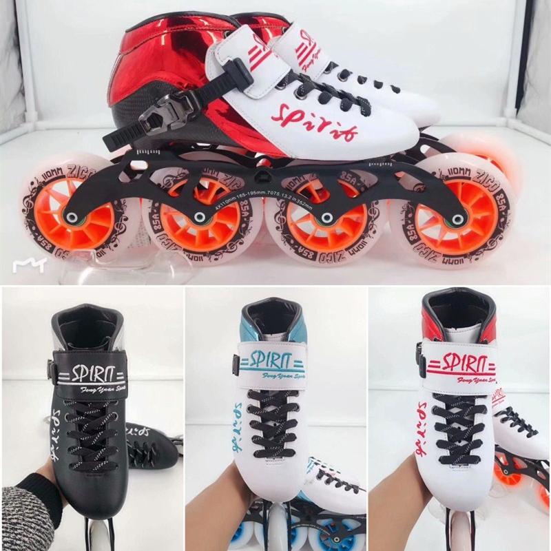 HOOMORE SPIRIT Professional 4 Wheels Inline Speed Skates Shoes 110mm 100mm 90mm Track Race Competition Skate 30-45 Carbon Fiber