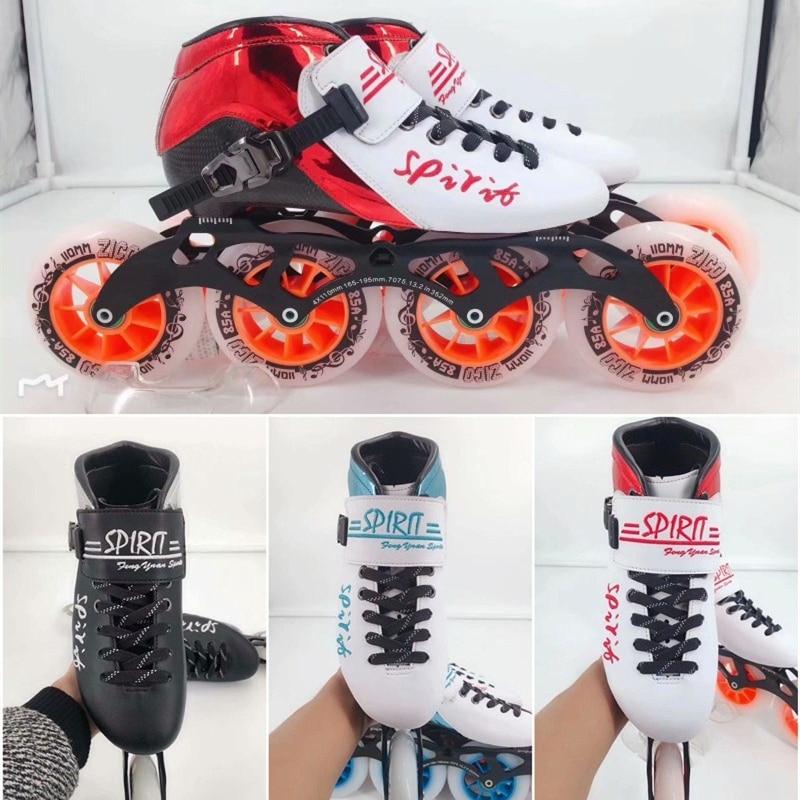 HOOMORE SPIRIT Professional 4 Wheels Inline Speed Skates Shoes 110mm 100mm 90mm Track Race Competition Skate 30-45 Carbon Fiber