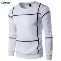 Domeef Men Autumn O Neck Long Sleeve Striped Sweatshirt Hoodies Casual Slim Fit Cotton Pullover Tracksuits