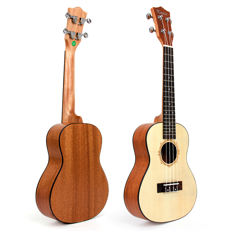 Kmise Concert Ukulele Solid Spruce Ukelele Uke 23 inch 18 Frets Acoustic Hawaii 4 String Guitar electric ukulele acoustic solid top only 4strings guitar ox bone nut mahogany body red tortoise shell celluloid binding ukelele