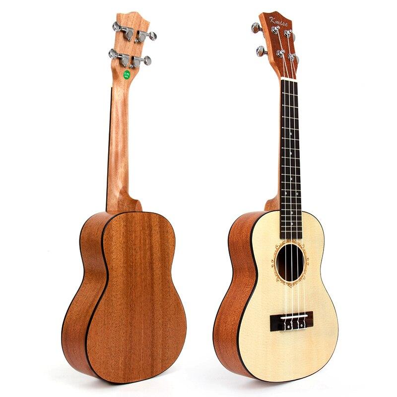 Kmise Concert Ukulele Solid Spruce Ukelele Uke 23 inch 18 Frets Acoustic Hawaii 4 String Guitar
