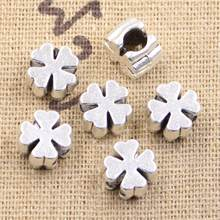 15 pçs 10x10x7mm cruz trevo 4mm grande buraco antigo prata cor contas encantos se encaixa diy encantos pulseira jóias contas