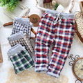 new 2014 spring autumn boys casual skinny plaid pants ,children's long pencil pants with blue ,green, wine red,coffee color