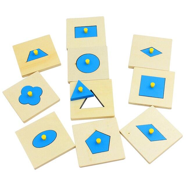 Juego de juegos con forma de geometría de madera Montessori Edición en casa/10 juguetes de educación preescolar azul para niños
