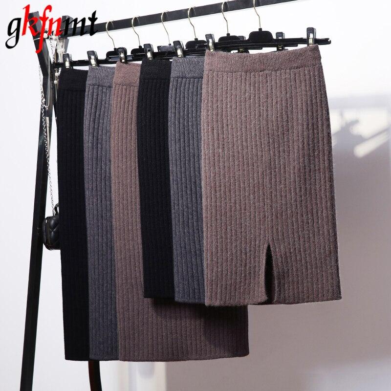 Gkfnmt básicos faldas 2018 Otoño e Invierno Chic lápiz faldas de las mujeres falda de lana costilla de punto Falda larga dividido de nuevo Midi falda