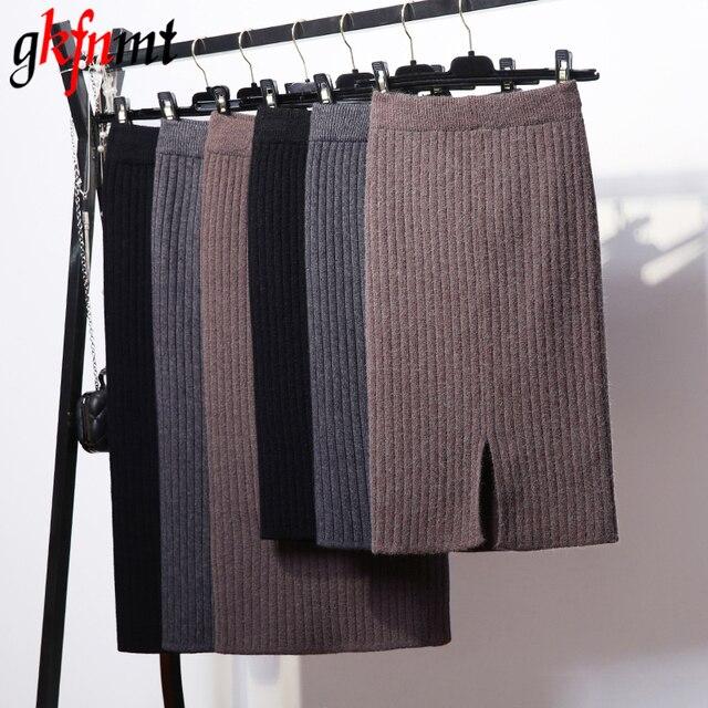 Gkfnmt básicos faldas 2018 Otoño e Invierno Chic lápiz faldas de las mujeres  falda de lana 27036f420a58