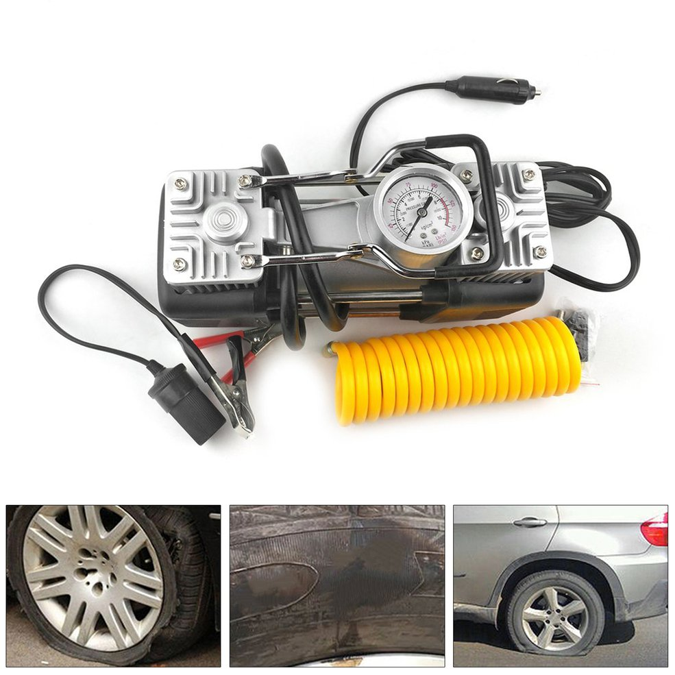 12V 150PSI Portable Emergency Heavy Duty 2 Cylinder Car Air Compressor Tire Inflator Pump Universal For Car Trucks Bicycle