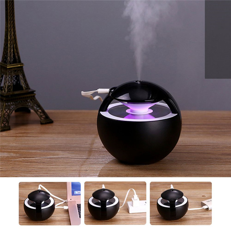 Incense Burners Ball Humidifier with Aroma Lamp Essential Oil Ultrasonic Electric Aroma Diffuser Mini USB Air Humidifier 450ML image