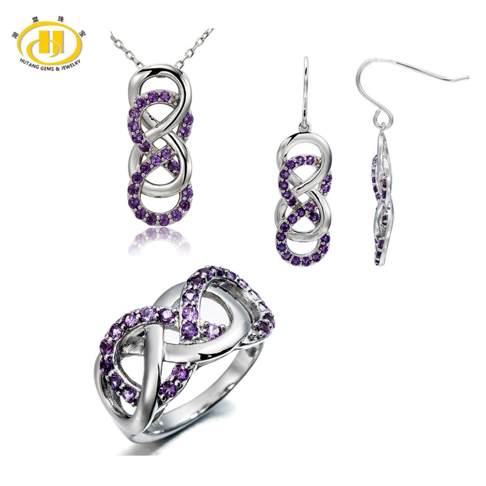Hutang Natural Amethyst Solid 925 Sterling Silver Jewelry Sets Infinite Ring Pendant Earrings Fine Jewelry Women