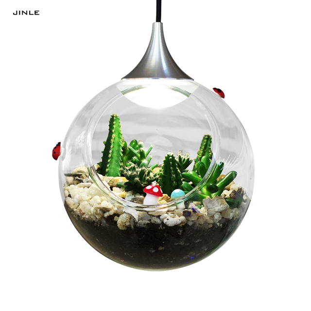 Modern clear glass lampshade chandelier Plant landscape lamp Led light parlor office kitchen ball shape hallowmas droplight