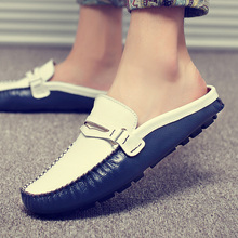купить Mens Shoes Casual Luxury Brand Summer Men Loafers Genuine Leather Moccasins Light Breathable Slip on Boat Shoes дешево