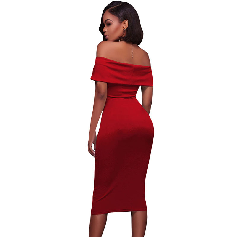 ADEWEL Women Sexy Off Shoulder Strapless Midi Dress Ruched Elegant Bodycon Dress Party Clubwear Pencil dress 38