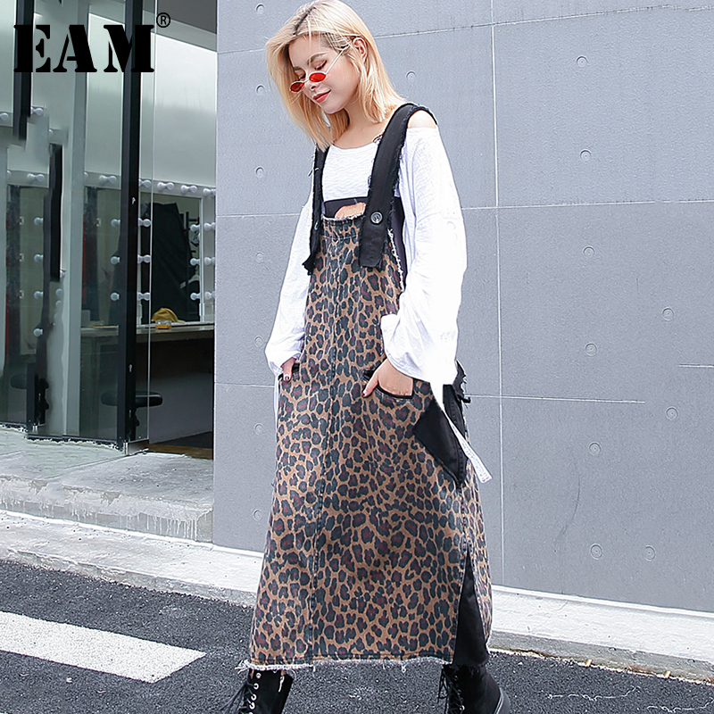 [EAM] 2020 New Spring  Summer Strapless Pattern Printed Holes Pocket Split Joint Loose Long Dress Women Fashion Tide JG852