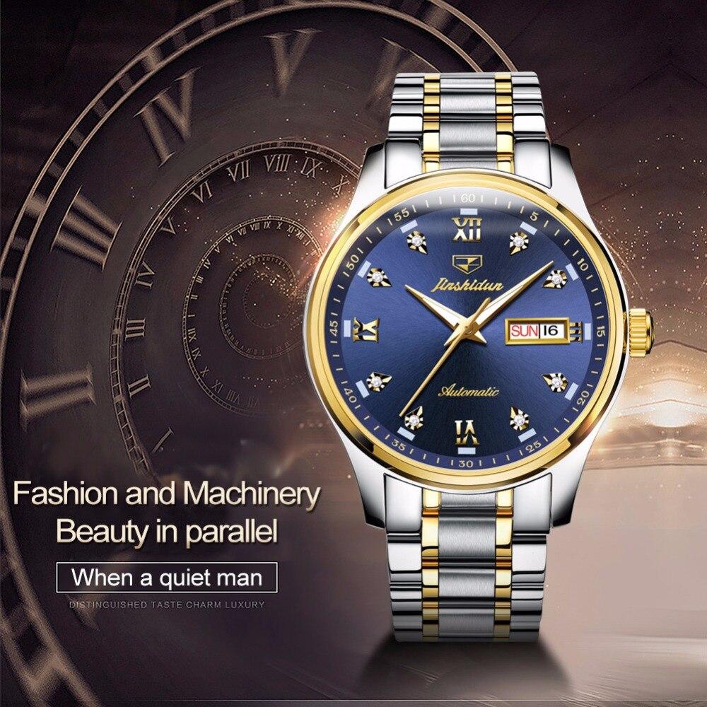 Machines de luxe montres pour hommes sont à la mode en acier étanche montre automatique hommes automatique Date semaine lumineux aiguilles horloge relogio - 4