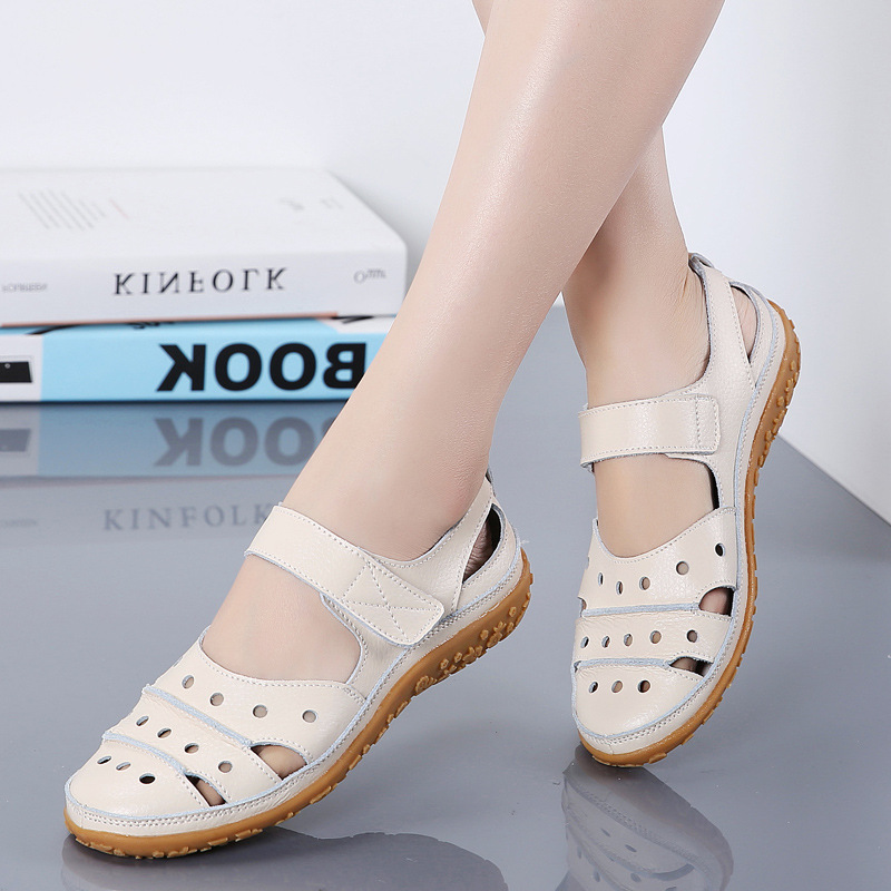 Women's Sandals 2019 Summer New Leather Handmade Ladies Shoes Leather Sandals Women's Flat Sandals Retro Style Mother Shoes