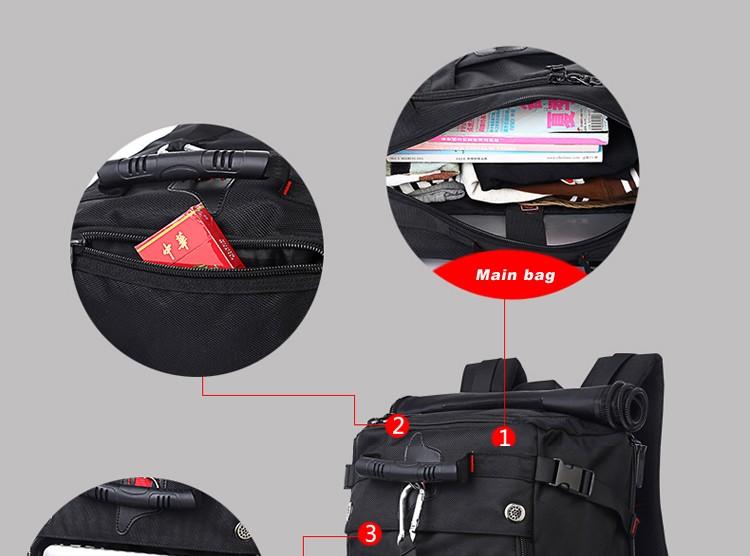 KAKA Men Backpack Travel Bag Large Capacity Versatile Utility Mountaineering Multifunctional Waterproof Backpack Luggage Bag 17