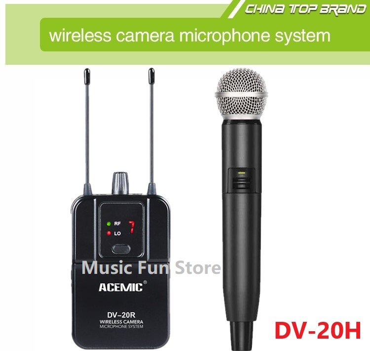 acemic dv 20 interview wireless handheld microphone system wireless camera recording microphone. Black Bedroom Furniture Sets. Home Design Ideas