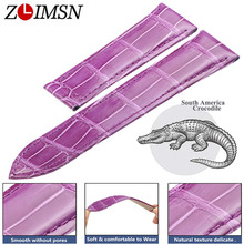 ZLIMSN Alligator skin Strap Quick Installation for Mens Women Luxury Watch Band Belt 12mm-26mm Pink Crocodile Leather Watchband