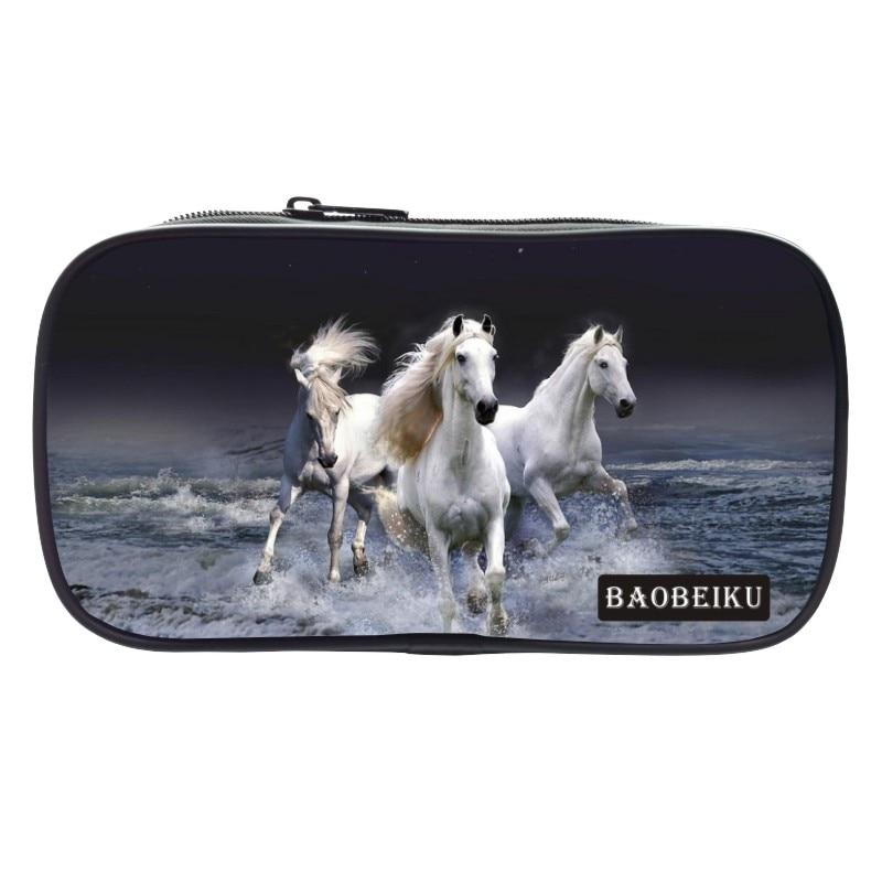 Baobeiku Новый стиль полиэстер печати животное лошадь мальчиков Coin Кошельки для Для мужчин ключевой бумажник Для женщин кошелек дети детские р...