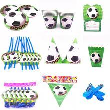 Conjunto de vajilla de fiesta con temática de fútbol, servilletas y platos, caja de caramelo para cumpleaños, decoración de fiesta de bienvenida para niños