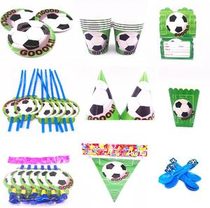 Image 1 - Hot football  Theme Cartoon Party Set Tableware Plate Napkins Banner Birthday Candy Box child Shower Party Decoration