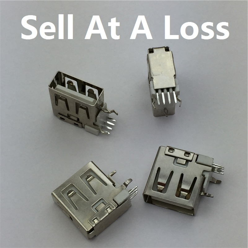10pcs/lot USB 2.0 4Pin A Type Female Socket Connector G59 Side Pin Short Body for Data Transmission Charging 10pcs lot type a 10 13 female usb 4 pin plug socket jack connector plug socket with cover seat welding wire adapeter short body