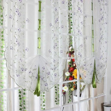 White Voile Embroidery Fabric Tulle Curtains for Kitchen Bedroom Living Room Window Roman Blinds Purple Flower Pattern(China)