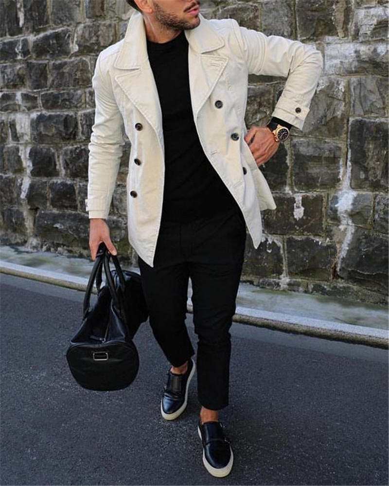 Men's   Trench   Coat Casual Black Trenchcoat Mens Turn-down Collar Punk   Trench   Coat Male Slim Fit Jacket For Men   Trench   Coat