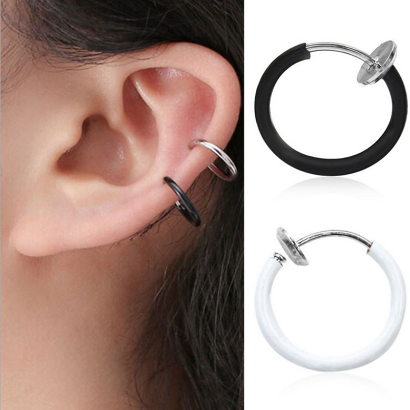HOT! 1 Piece <font><b>Fake</b></font> Nose Ring Goth Punk Lip <font><b>Ear</b></font> Nose Clip On <font><b>Fake</b></font> Piercing Nose Lip Hoop Rings Earrings Golden Rose body jewelry image
