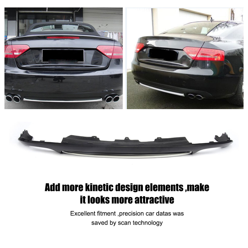 Matowy czarny dyfuzor na tylny zderzak Pasuje do Audi A5 Coupe - Części samochodowe - Zdjęcie 5