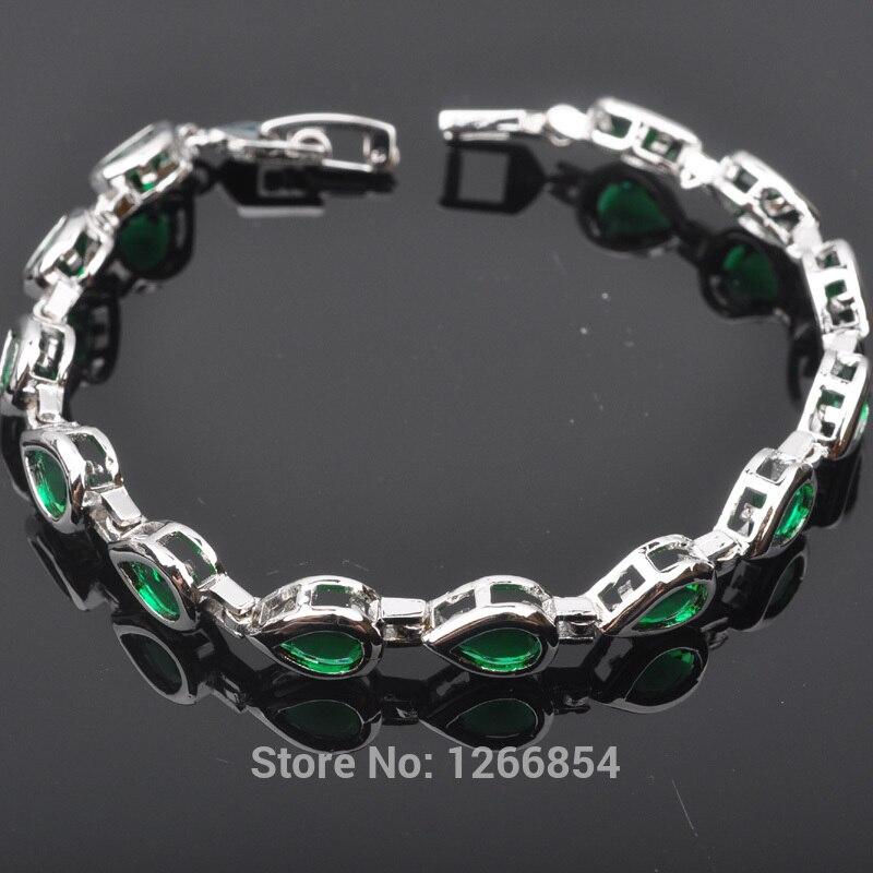 04da2ef0270b Poire Forme Vert Cubique Zircon Bijoux En Argent Pour Les Femmes Lien Chaîne  Bracelet 7 pouce Livraison Gratuite R01278