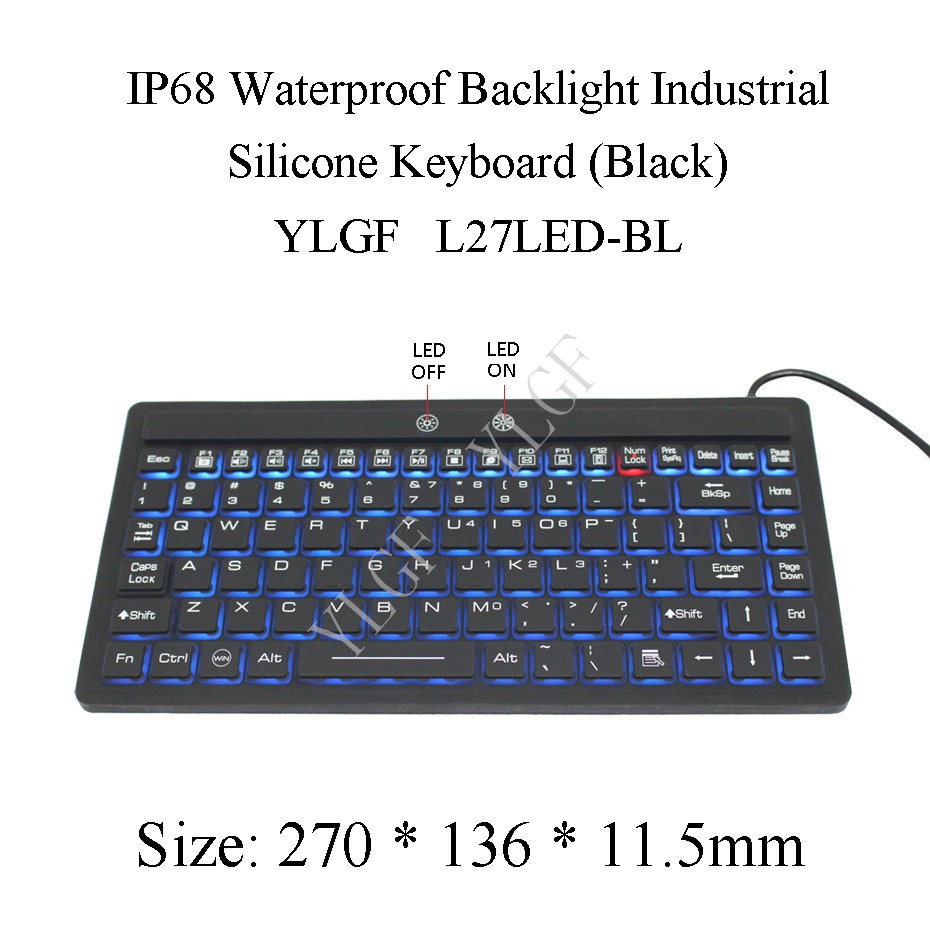 YLGF L27LED-BL  IP68, waterproof keyboard, industrial keyboard, silicone, mute, light, backlight, dust, embedded,LED backlight metal keyboard ylgf ps 2 super mini embedded industrial key waterproof ip65 dust anti violence stainless steel ring