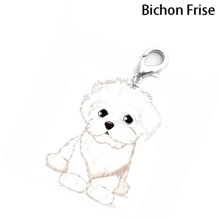 lovely pets hot selling dogs bichon frise shaped metal accessories collar necklace pendant jun10 - Frise Vinyle