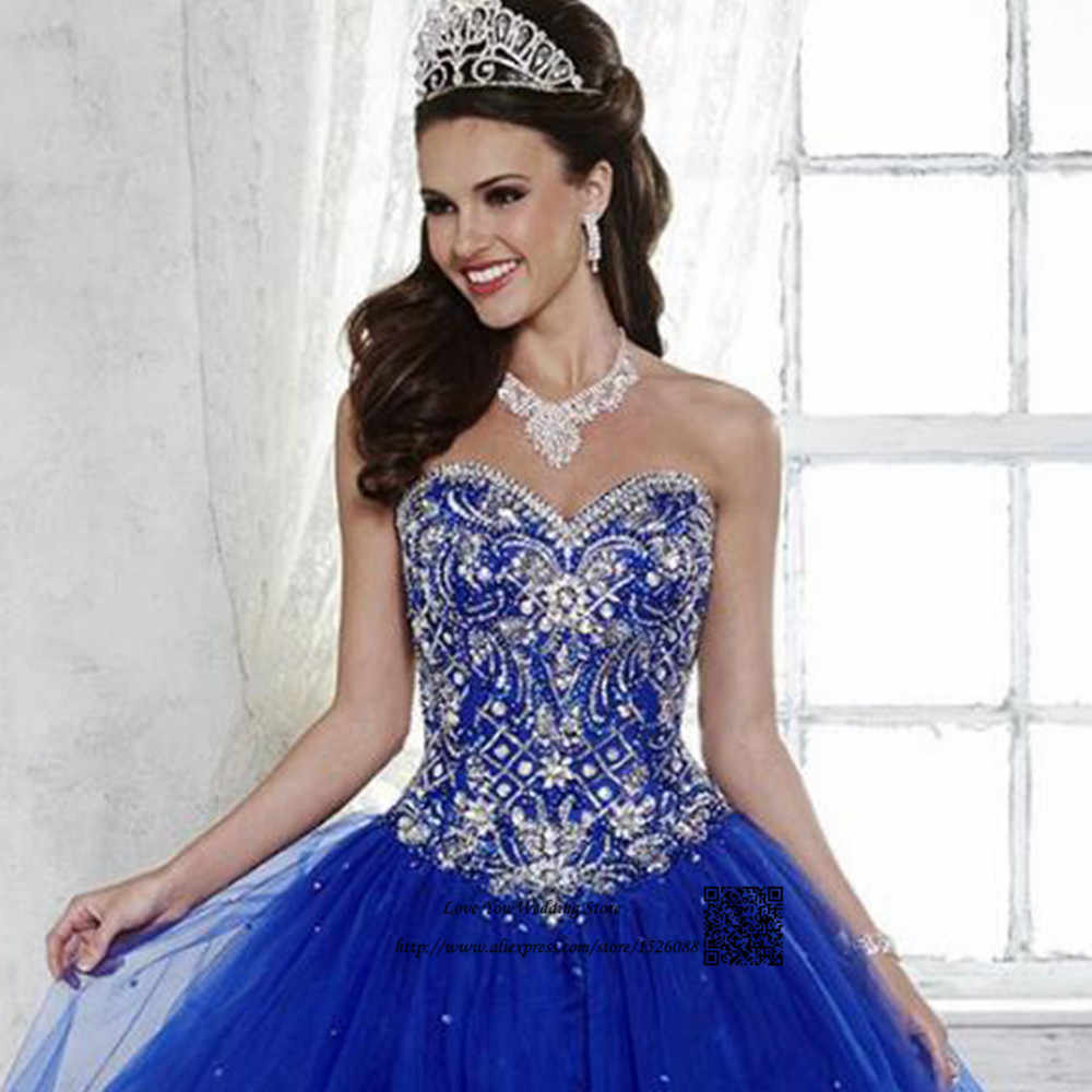 a490277065 Vestidos de 15 Anos Debutante Royal Blue Ball Gown Cheap Quinceanera  Dresses 2017 Sweet 16 Prom Dress for 15 Years Rhinestones