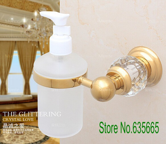 Luxury Crystal Glass Decoration Gold Brass Wall Hand Liquid Soap Dispensers Emulsion Bottle Bathroom Sanitary Ware Accessories