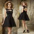 Vestido de Festa Curto Black Cocktail Dresses Backless Lace Party Dress Short Modest Homecoming Dresses Robe de Cocktail